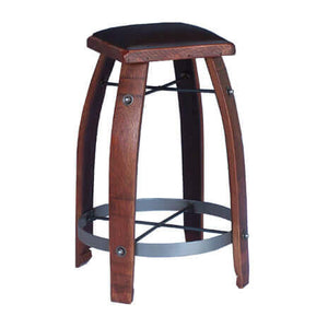 "2-DAY DESIGNS 26"" WINE BARREL STAVE STOOL WITH CHOCOLATE LEATHER SEAT"