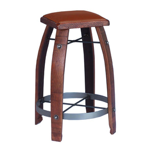"2-DAY DESIGNS 26"" WINE BARREL STAVE STOOL WITH TAN LEATHER SEAT"