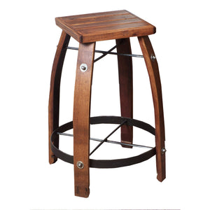"2-DAY DESIGNS 28"" WINE BARREL STAVE STOOL WITH WOOD SEAT"
