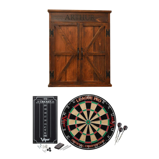 Reclaimed Charm Personalized Complete Mission Dartboard Cabinet Package