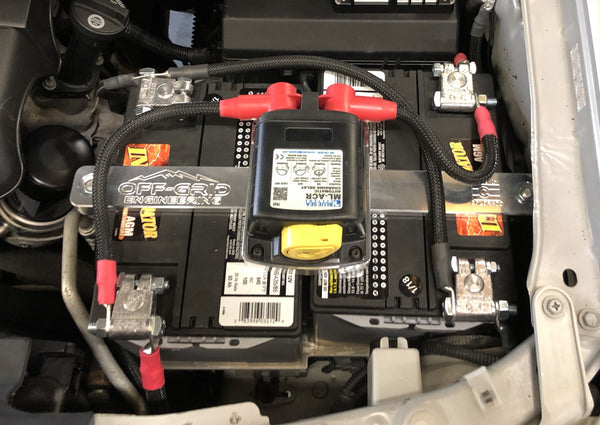 "Off Grid Engineering ""side-by-side"" dual battery system installed in a 2nd Gen Toyota Tacoma"