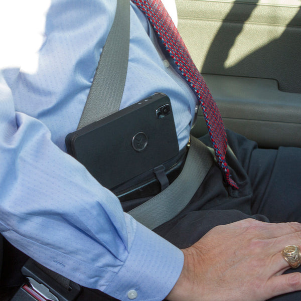Quick access even while sitting or wearing a seatbelt
