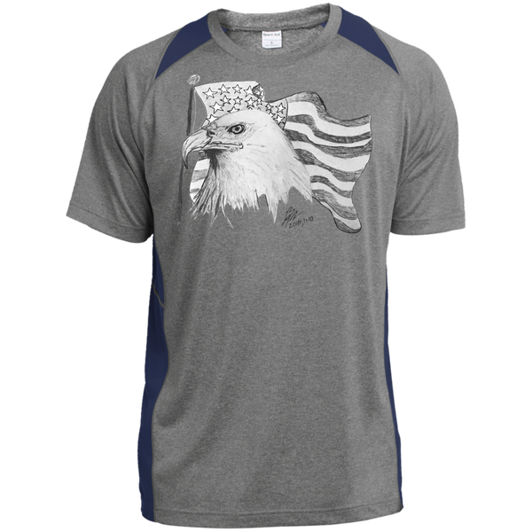 Eagle 101 Custom Printed Heather Colorblock Poly T-shirt