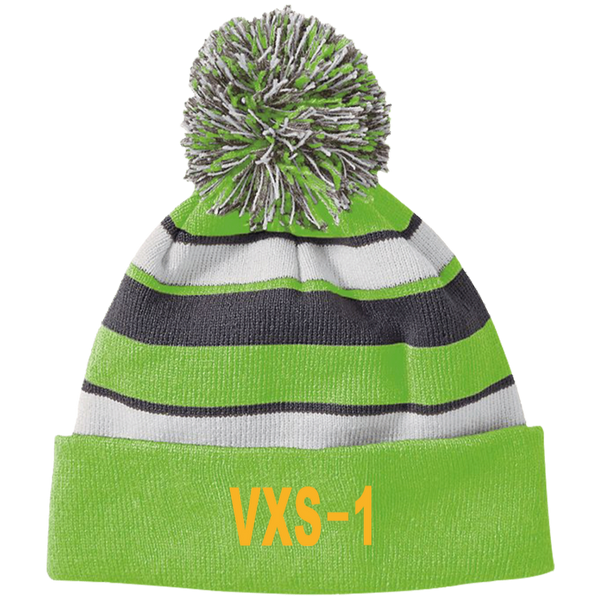 VXS 01 3 Striped Beanie with Pom