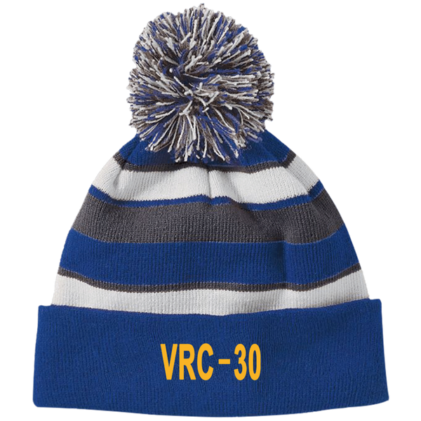 VRC 30 3 Striped Beanie with Pom