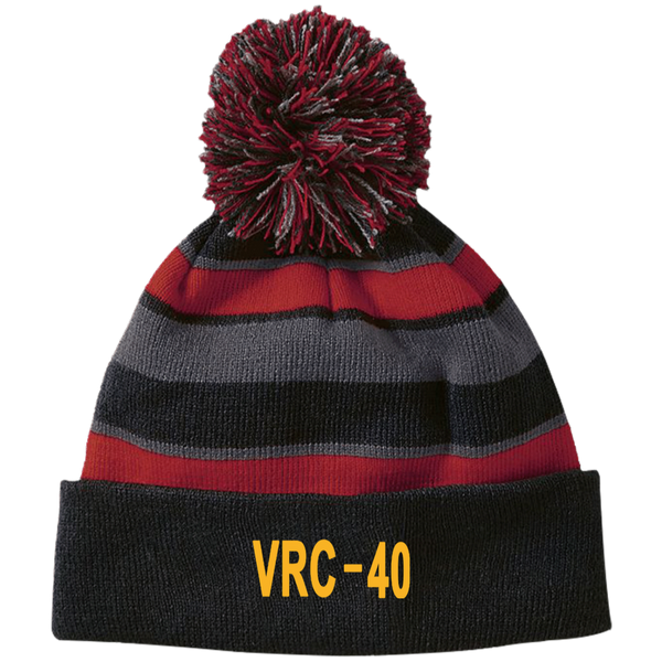 VRC 40 3 Striped Beanie with Pom