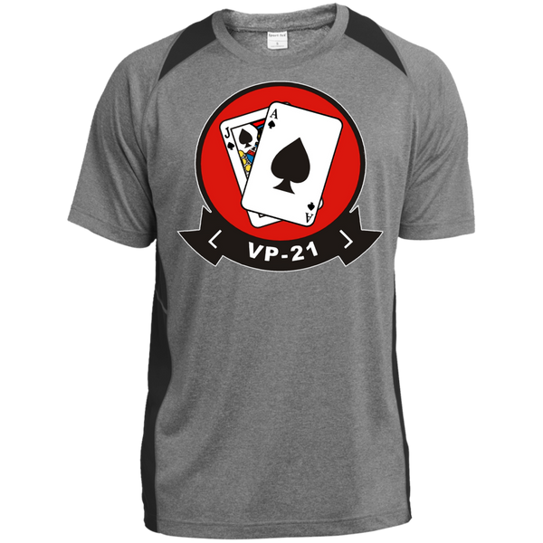 VP 21 1 Custom Printed Heather Colorblock Poly T-shirt