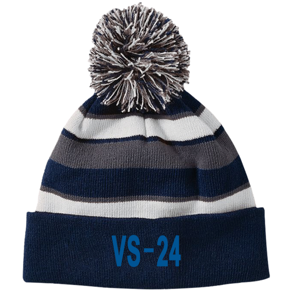 VS 24 3 Striped Beanie with Pom