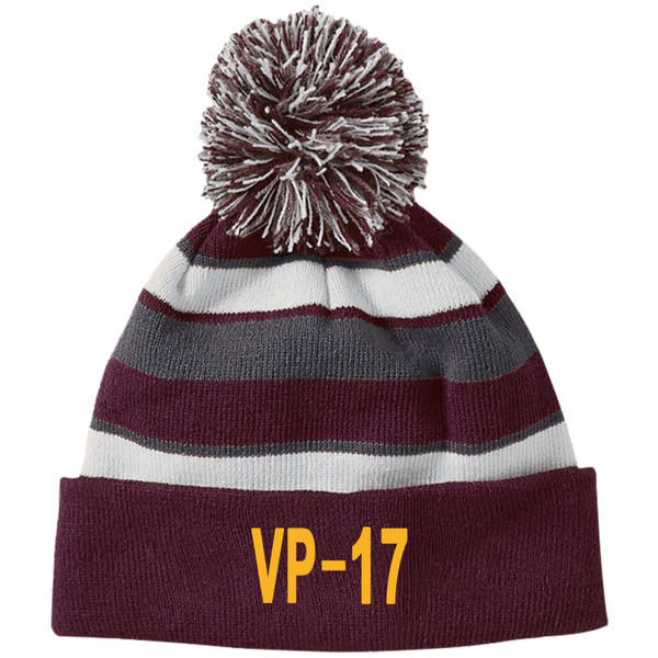 VP 17 3 Striped Beanie with Pom