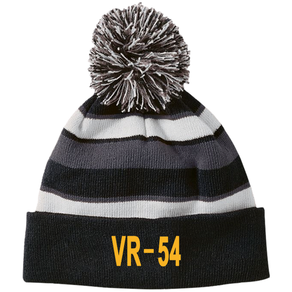 VR 54 3 Striped Beanie with Pom