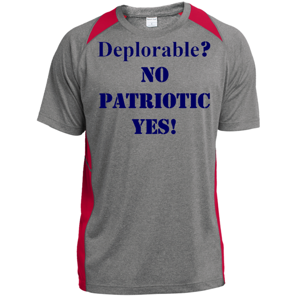 Deplorable Custom Printed Heather Colorblock Poly T-shirt