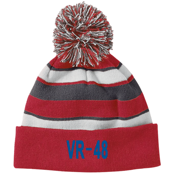 VR 48 3 Striped Beanie with Pom