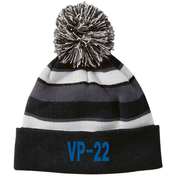 VP 22 3 Striped Beanie with Pom