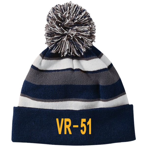VR 51 3 Striped Beanie with Pom