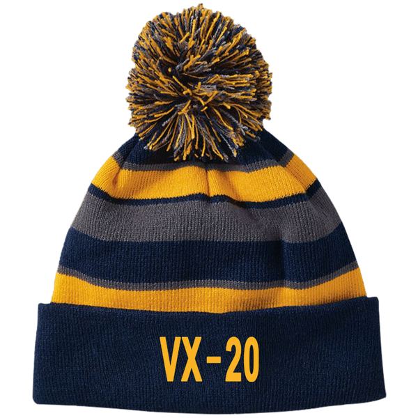 VX 20 3 Striped Beanie with Pom