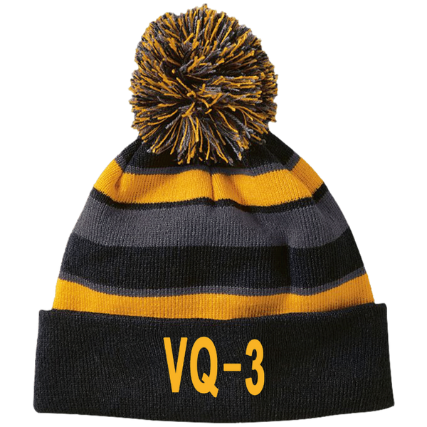 VQ 03 3 Striped Beanie with Pom