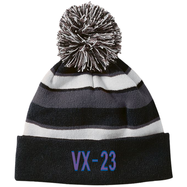 VX 23 3 Striped Beanie with Pom