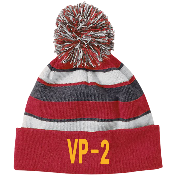 VP 02 3 Striped Beanie with Pom