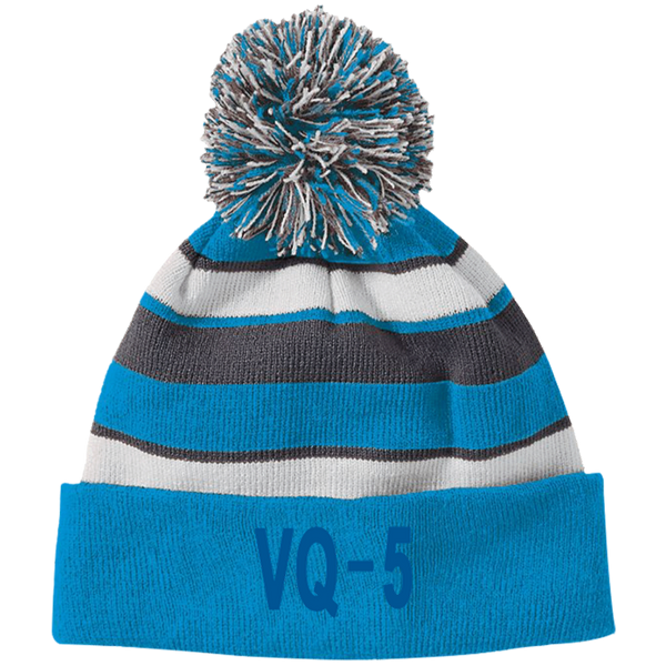 VQ 05 3 Striped Beanie with Pom