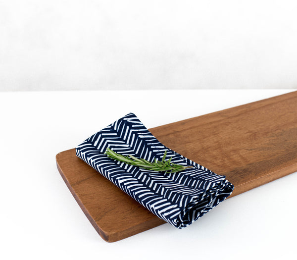 Tracks - Navy | Eco-Friendly Napkins | Wolf & Irving