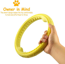 "Load image into Gallery viewer, Fluffy Paws Dog Chewing Ring, 10"" Soft Rubber Ring Dental Chewing Teething Biting Chasing Training Toy for Small and Medium Dog Puppy, Yellow"
