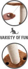 Load image into Gallery viewer, Fluffy Paws Cat Tree Pet Bed & Scratching Post, Cat Tower Condo with Durable Sisal Wrapped Scratching Post, Carpeted Based Play Area with Pet Toy Ball, Furniture for Cats Kittens [18 x 16 x 16] Beige
