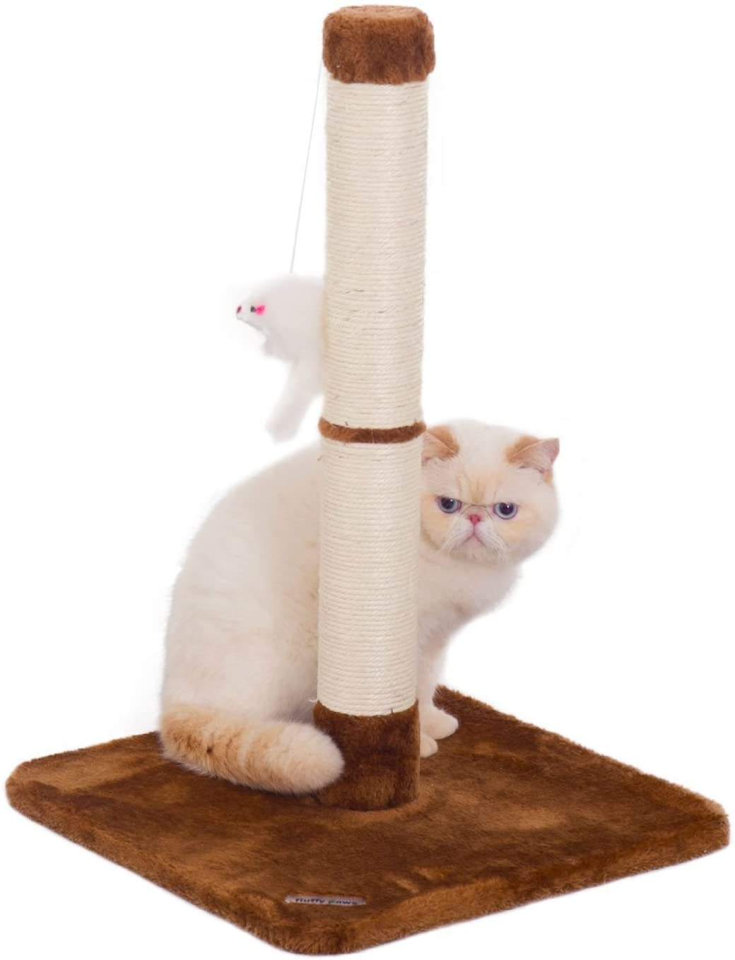 Fluffy Paws Scratching Post, Durable Sisal Wrapped, Cat Kitten Scratcher with Mouse Moving Cats Toy, Keep Claws Active & Protect Your Furniture [25 x 16 x 16] w/Carpeted Based Play Area, Brown