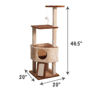 Fluffy Paws Cat Tree Condo Tower with Scratching Posts, Kitten Perch Furniture Play House, Durable Sisal Wrapped, with Mouse Moving Cat Toy, Climbing Platform Playground for Cat [ 47 x 20 x 20] Beige