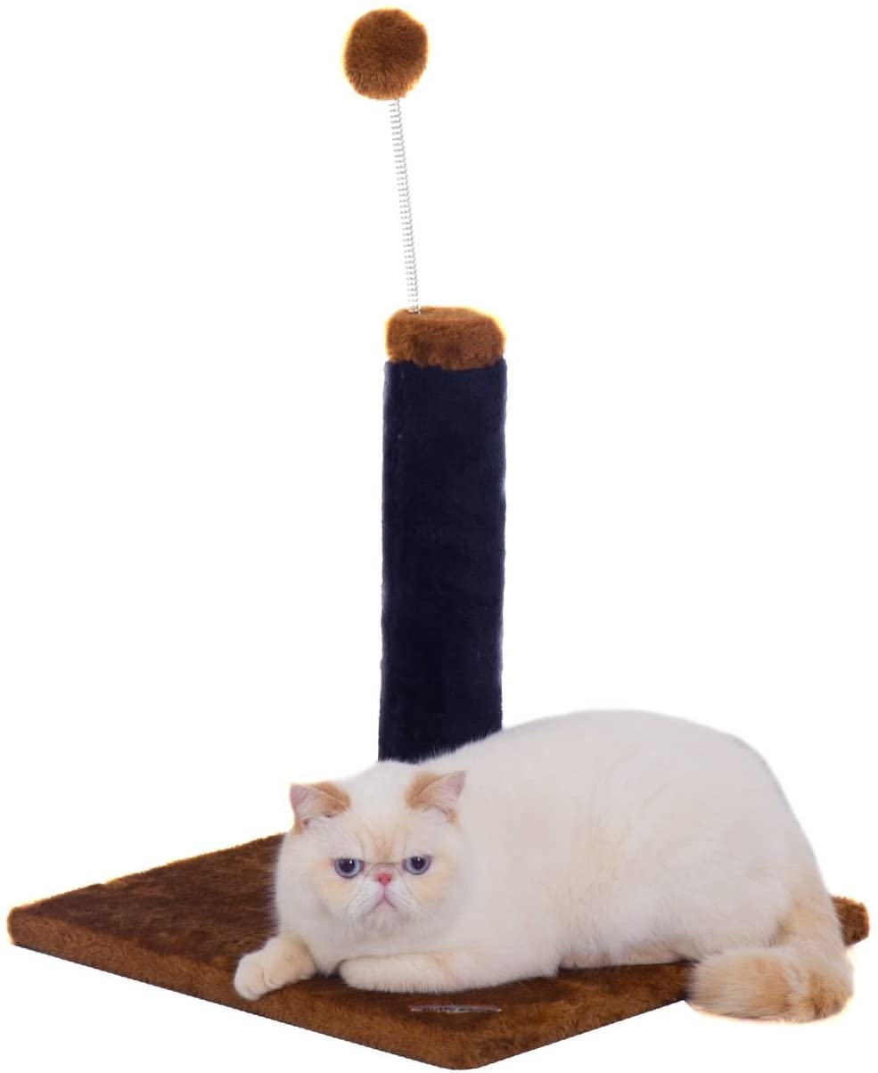 Fluffy Paws Cat Scratching Post, Durable Sisal Wrapped, Ultimate Cat Kitten Scratcher with Spring Resistance Play Ball Cats Toy, Keep Claws Active & Protect Your Furniture [Height 25