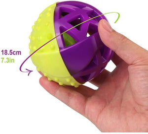 Fluffy Paws Dog Toy, Durable Squeaky Ball-Shaped Pet Toy, [Dual Color] Rubber Dental Chewing Biting Pet Toy for Small and Medium Dog Puppy,Green/Purple