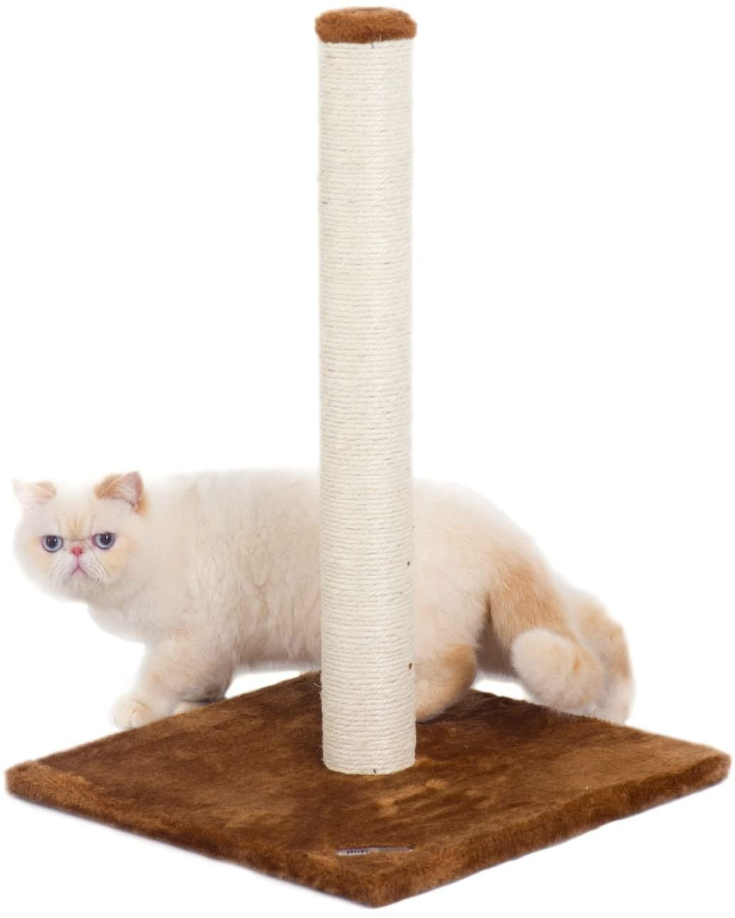 Fluffy Paws Cat Scratching Post, [25 x 16 x 16] Durable Sisal Wrapped, Ultimate Cat Kitten Scratcher, Keep Claws Active & Protect Your Furniture, Carpeted Based Play Area Brown