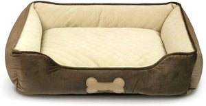 "Fluffy Paws Pet Lounger Pet Bed Premium Bedding with Super Soft Padding and Anti-Skid Bottom for Dogs & Cats [Lightweight, Self-Warming], Dark Brown - Large 31"" x 25"" x 8"