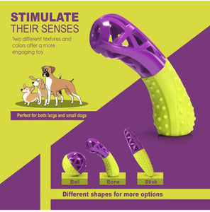 Fluffy Paws Dog Toy, Durable Squeaky Bone-Shaped Pet Toy, [Dual Color] Rubber Dental Chewing Biting Pet Toy for Small and Medium Dog Puppy,Green/Purple