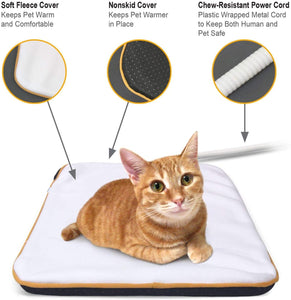 "Fluffy Paws Indoor Pet Bed Warmer Electric Heated Pad with Free Cover (Dual Temperature & UL Certified), White Medium - 15.3"" x 20.8"""