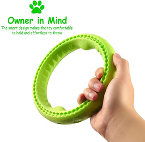 "Fluffy Paws Dog Chewing Ring, 7"" Soft Rubber Ring Dental Chewing Teething Biting Chasing Training Toy for Small and Medium Dog Puppy, Green"