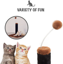 "Load image into Gallery viewer, Fluffy Paws Cat Scratching Post, Durable Sisal Wrapped, Ultimate Cat Kitten Scratcher with Spring Resistance Play Ball Cats Toy, Keep Claws Active & Protect Your Furniture [Height 25""] Brown"