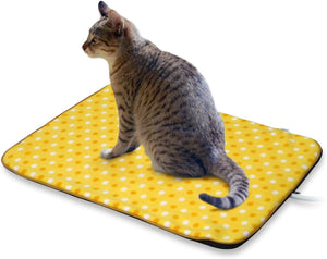 "Fluffy Paws Indoor Pet Bed Warmer Electric Heated Pad with Free Cover (Dual Temperature & UL Certified), Yellow Dot Small - 12.3"" x 18"""