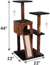 Load image into Gallery viewer, Fluffy Paws Cat Tree Condo Tower with Scratching Posts, Kitten Perch Furniture Play House, Durable Sisal Wrapped, with Mouse Moving Cat Toy, Climbing Platform Playground for Cat [ 44 x 22 x 22] Brown