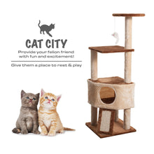 Load image into Gallery viewer, Fluffy Paws Cat Tree Condo Tower with Scratching Posts, Kitten Perch Furniture Play House, Durable Sisal Wrapped, with Mouse Moving Cat Toy, Climbing Platform Playground for Cat [ 47 x 20 x 20] Beige