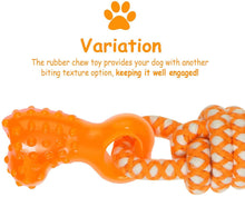 "Load image into Gallery viewer, Fluffy Paws Dog Rope Toy, 15"" Pet Tug Rope, Pet Rubber Dental Chewing Biting Teething Toys, for Small and Medium Dog Puppy, Orange"