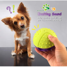 Load image into Gallery viewer, Fluffy Paws Dog Toy, Durable Squeaky Ball-Shaped Pet Toy, [Dual Color] Rubber Dental Chewing Biting Pet Toy for Small and Medium Dog Puppy,Green/Purple