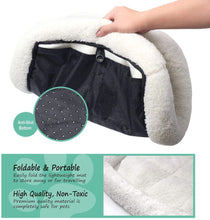 "Load image into Gallery viewer, Fluffy Paws Foldable Soft Fleece Pet Crate Mat Bed with Accessories Pocket for Crates, Pet Carriers - for Dogs & Cats, Machine Washable, Anti-Skid Bottom - Small 23"" x 18"" x 3"""