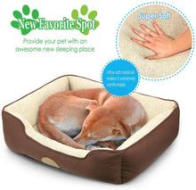 "Load image into Gallery viewer, Fluffy Paws Pet Lounger Pet Bed Premium Bedding with Super Soft Padding and Anti-Skid Bottom for Dogs & Cats [Lightweight, Self-Warming], Brown - Large 31"" x 25"" x 8"