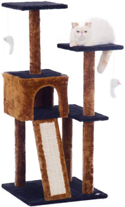 Fluffy Paws Cat Tree Condo Tower with Scratching Posts, Kitten Perch Furniture Play House, Durable Sisal Wrapped, with Mouse Moving Cat Toy, Climbing Platform Playground for Cat [ 44 x 22 x 22] Brown