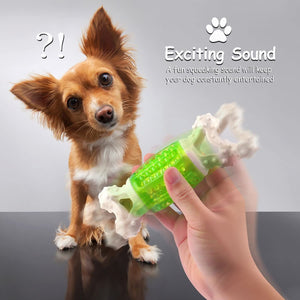 "Fluffy Paws Dog Toy, 5.6"" Durable Squeaky Bone-Shaped Puppy Toy, Rubber Dental Chew Toy for Small and Medium Dog Puppy"