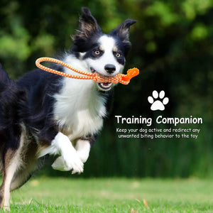 "Fluffy Paws Dog Rope Toy, 15"" Pet Tug Rope, Pet Rubber Dental Chewing Biting Teething Toys, for Small and Medium Dog Puppy, Orange"