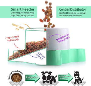 Fluffy Paws Smart Pet Tri-Feeder - Healthy Slow Eating Feeder Designed for Multi-Dogs or Cats with Non-Slip Base Pads, Anti-Gulping & Stop Food Competition, Dispense Dog or Cat Food, BPA Free