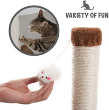 Load image into Gallery viewer, Fluffy Paws Scratching Post, Durable Sisal Wrapped, Cat Kitten Scratcher with Mouse Moving Cats Toy, Keep Claws Active & Protect Your Furniture [25 x 16 x 16] w/Carpeted Based Play Area, Brown