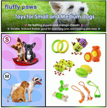 Load image into Gallery viewer, Fluffy Paws Dog Treat Chew Toy, Dumbbell Shaped Rubber Pet Toy Feed Bone (Dental Treat & Bite Resistant) Durable Non Toxic Strong, Teething, IQ Training, Chewing, Playing for Small and Medium Dog Puppy