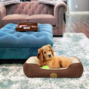 "Fluffy Paws Pet Lounger Pet Bed Premium Bedding with Super Soft Padding and Anti-Skid Bottom for Dogs & Cats [Lightweight, Self-Warming], Brown - Large 31"" x 25"" x 8"